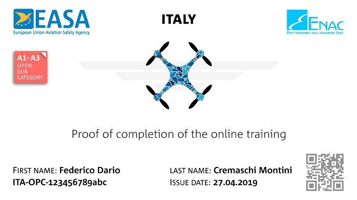 Drone test  certificate