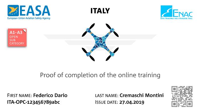 Drone test  certificate